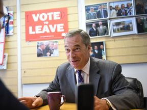 Former Ukip leader Nigel Farage at the party's local office in Thurrock during a General Election campaign visit