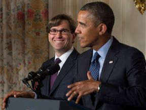 Jason Furman (L), a veteran White House economic official, smiles as US President Barack Obama nominates him as chairman of the president's Council of Economic Advisers during an event at the White House in Washington on June 10, 2013. AFP PHOTO/JIM WATSON (Photo credit should read JIM WATSON/AFP/Getty Images)