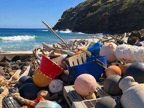 Plastic pollution at Unulau Bay