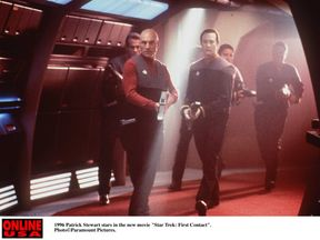 1996 Patrick Stewart stars in the new movie 'Star Trek: First Contact'.