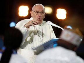 Pope Francis speaks during the Festival of Families at Croke Park during his visit to Dublin, Ireland
