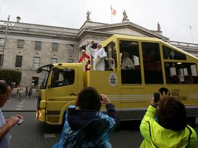 The waxworks were placed in the Popemobile