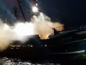 Smoke bombs are reported to have been thrown at English and Scottish vessels