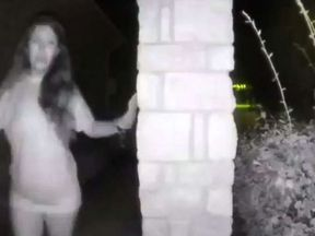 A partially dressed woman rings the doorbell of a Texas home. Pic: Montgomery County Sheriff's Office