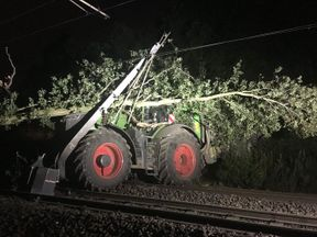 Handout photo taken from the Twitter feed of @nationalrailenq of a tractor on a railway line in the Fitzwilliam area in West Yorkshire. Rail travellers are being warned of major delays on some routes until Friday evening after a tractor damaged the line near Fitzwilliam in West Yorkshire. PRESS ASSOCIATION Photo. Issue date: Thursday August 16, 2018. National Rail Enquiries (NRE) said services including CrossCountry from Leeds to Reading and Plymouth and between Glasgow Central and Birmingham Ne