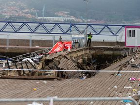 Part of the pier collapsed during a performance by the rapper Rels B