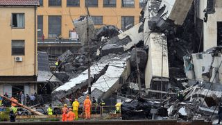 Thirty-five cars and three heavy vehicles are under the bridge, Italian Civil Protection said.
