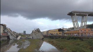 It is feared there are dozens of victims after a 200m section of a bridge collapsed in northern Italy during a storm.