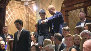 Prince Harry and Meghan were in attendance for a special charity performance of the show which is based on the life of one of America's founding fathers, Alexander Hamilton.
