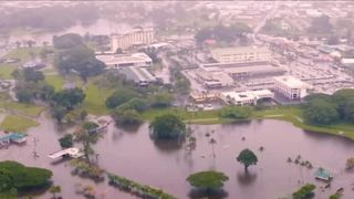 Aerial view of floods in Hawaii