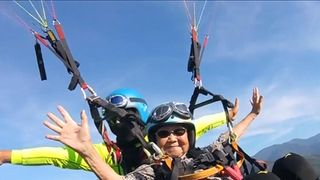 Local media reported that Wu Rui-lin was the oldest in Taiwan ever to take a paragliding ride.