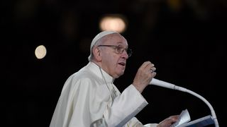 Pope Francis addresses the Festival of Families at Croke Park Stadium in Dublin