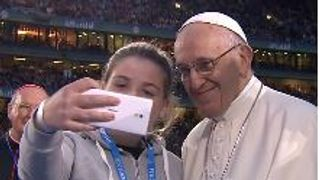 The Pope agreed to pose for a selfie during his visit to Ireland