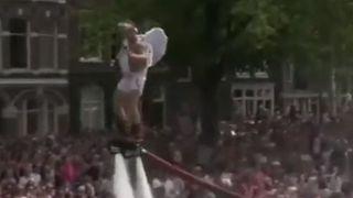 Water jetpack excites crowd at Amsterdam Pride