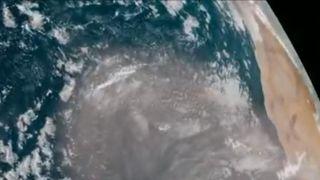 Satellite image shows Saharan dust crossing Atlantic towards Spain and Portugal