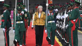 Prime Minister Theresa May arrives in Abuja, Nigeria, on day two of her trip to Africa