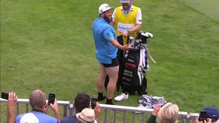 Andrew Johnston takes his trousers off to make a put.