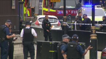 A man who appears to be being held after a crash at parliament