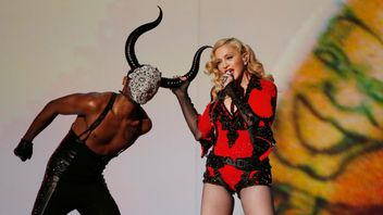 Madonna performing at the 57th annual Grammy Awards in Los Angeles
