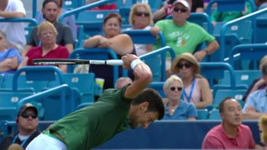 Djokovic destroys racket