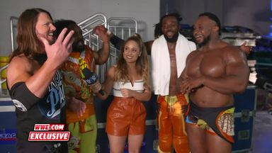 The New Day celebrate with AJ Styles