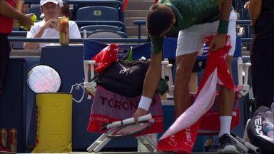 Djokovic breaks racket in half
