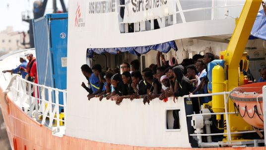 Migrants are seen onboard the humanitarian ship Aquarius at Boiler Wharf in Senglea, in Valletta's Grand Harbour, Malta