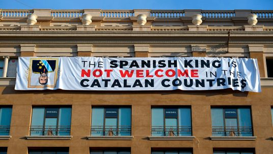 A banner was unveiled ahead in Barcelona ahead of the ceremony