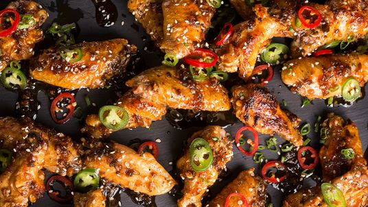 Honey Serrano Chicken Wings on Black Slate Tray