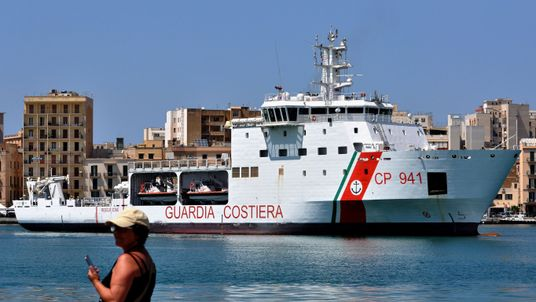 The migrants are on board the Diciotti coast guard ship in Lampedusa harbour. File pic