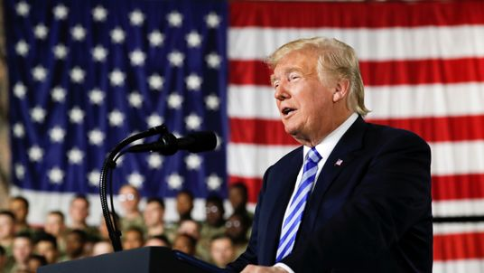 Donald Trump addresses US Army soldiers at a signing ceremony for the National Defence Authorisation Act