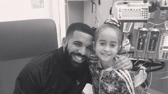 Drake has granted the wish of a little girl who longed to meet him as she stayed in hospital waiting for a new heart .