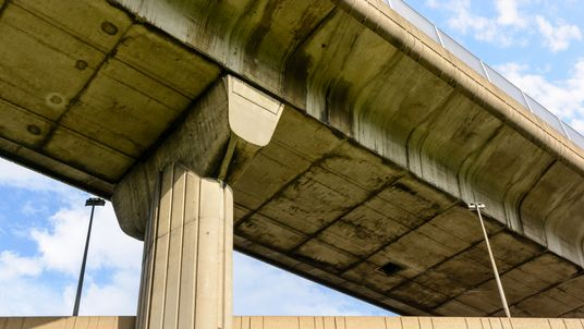 View from below of two highway junctions crossing one above the other.