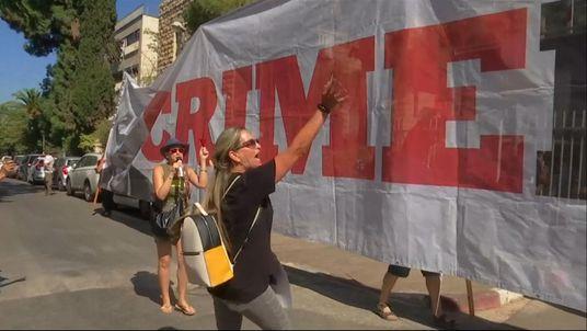 Protesters outside Mr Netanyahu's residence
