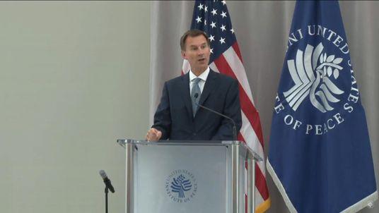 Jeremy Hunt speaks in Washington