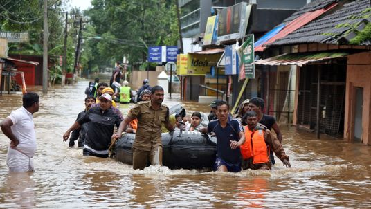 Boats and helicopters have been deployed in the Kerala rescue effort