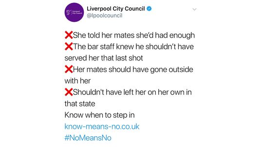 The controversial tweet, sent out by Merseyside Police and Liverpool City Council, has been deleted