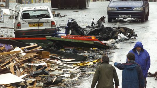 The remains of the car that was holding the bomb