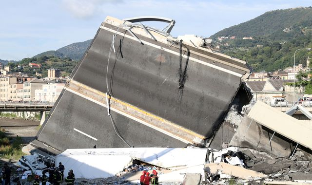 Motorway officials blamed for Italian bridge collapse told to leave memorial service