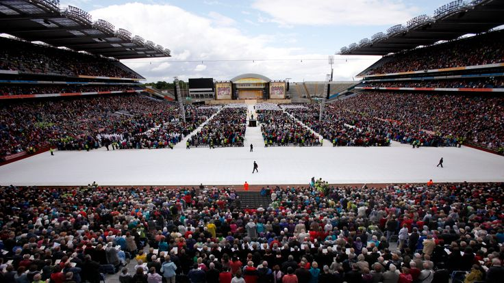 round 80,000 pilgrims attend the closing ceremony of the 50th International Eucharistic Congress, at Croke Park in Dublin, Ireland, on June 17, 2012. Pilgrims from more than 120 countries are attending the Congress which is an international gathering held every four years. The Eucharistic Congress organized by the Vatican every four years in a different part of the world begun in the 19th century. It highlights the Catholic Church's belief in transubstantiation, the idea that bread and wine tran