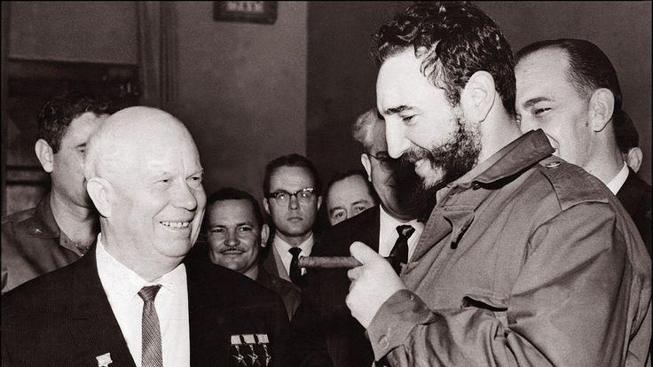 Fidel Castro with Soviet leader Nikita Khrushchev