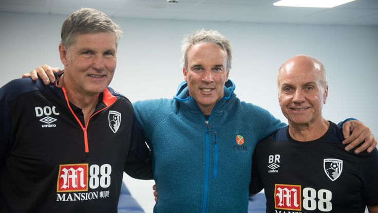 Lewis with members of Bournemouth football club's support team