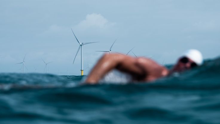 Lewis passed near a wind farm off the Brighton coast on day 35