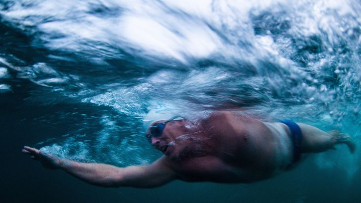 Lewis Pugh swimming 'uphill'