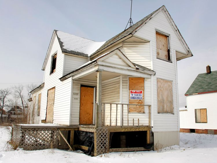 A boarded up house sits for sale in February 2008 in Detroit Michigan