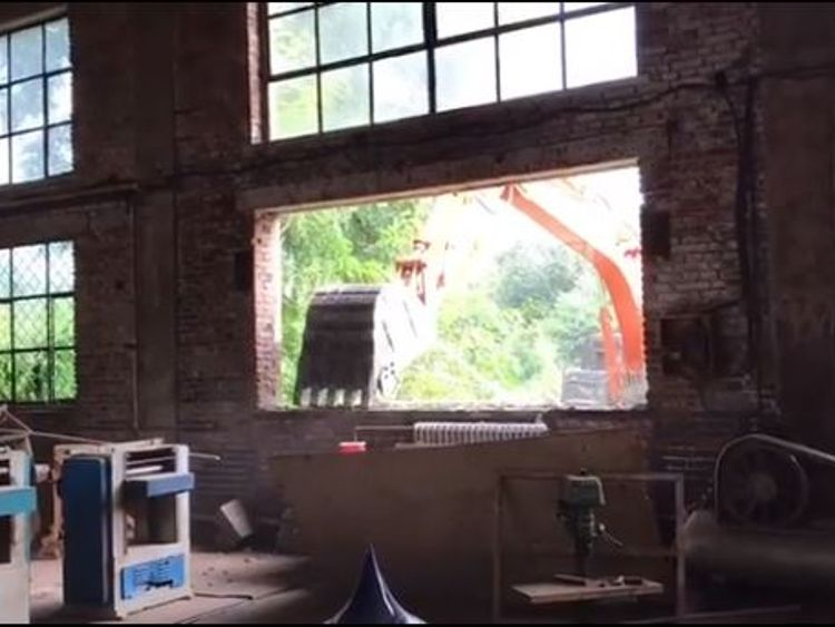 Diggers were pictured destroying Ai Weiwei's main studio in Beijing. Pic: Instagram/Ai Weiwei