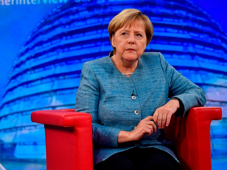 German Chancellor Angela Merkel looks on during her traditional summer interview at a TV studio of German public broadcaster ARD on August 26, 2018 in Berlin. (Photo by Tobias SCHWARZ / AFP) (Photo credit should read TOBIAS SCHWARZ/AFP/Getty Images)