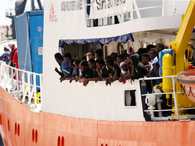 Migrants are seen onboard the humanitarian ship Aquarius at Boiler Wharf in Senglea in Valletta's Grand Harbour Malta
