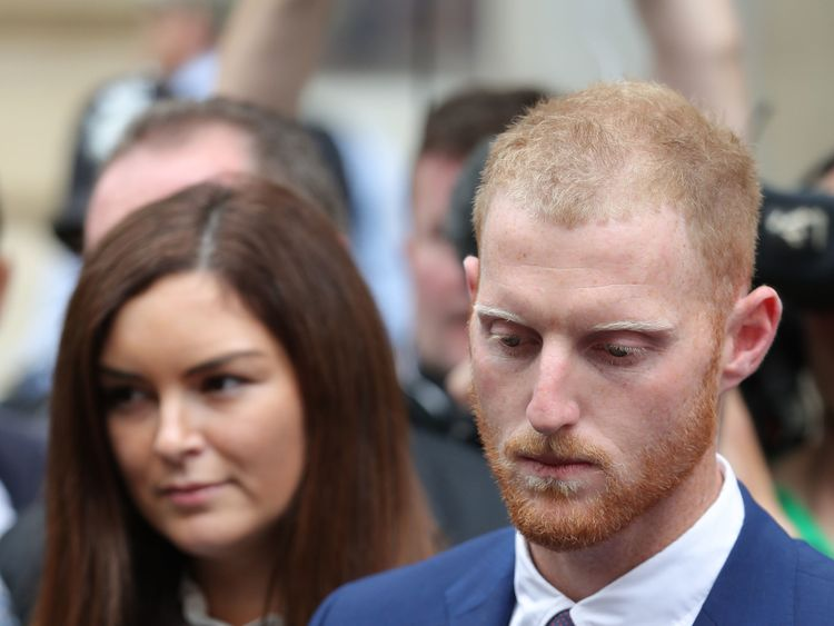England cricketer Ben Stokes and his wife Clare leaving Bristol Crown Court where he has been found not guilty of affray following a brawl hours after England played the West Indies in a one-day international in the city in September last year. PRESS ASSOCIATION Photo. Picture date: Tuesday August 14, 2018. See PA story COURTS Stokes. Photo credit should read: Andrew Matthews/PA Wire