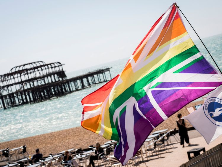 BRIGHTON, ENGLAND - AUGUST 05: A rainbow Union Jack is flown on the beach during the annual Brighton Pride Parade on August 5, 2017 in Brighton, England. (Photo by Tristan Fewings/Getty Images)